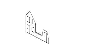 Huisje in 2D scheef geplaatst