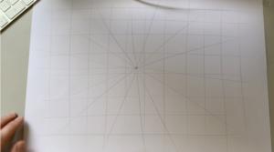 Het raster van een eenpuntsperspectief