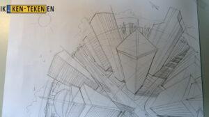 Een schets met gekromde horizon